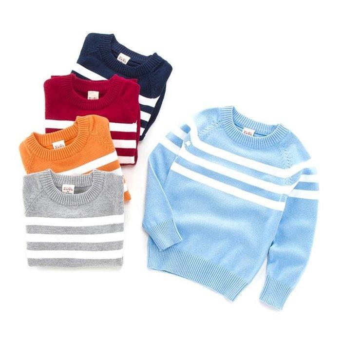 毛衣韓版條紋兒童毛衣棉質薄款寶寶線衫秋款童裝男童針織衫套頭潮
