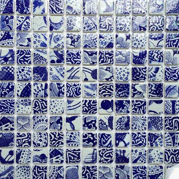 5Cgo【宅神】含稅會員有優惠 9860095060景德鎮青花瓷陶瓷馬賽克拼圖玄關瓷磚牆貼背景牆邊緣貼設計師