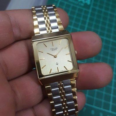 TELUX 輕薄 正方形錶 金錶 男錶 女錶 手圍18 通通便宜賣 非 SEIKO ck FOSSIL S2 Rolex OMEGA ORIENT機械錶