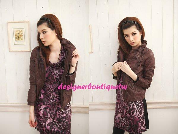 人氣新款 小羊皮植鞣夾克式設計感皮衣咖啡紫 超推薦必備款 現貨特價出清 M現貨
