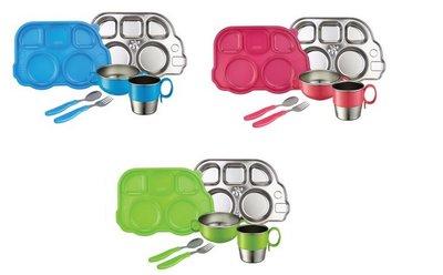 [小寶的媽] 美國 Innobaby Stainless Mealtime Set 不鏽鋼餐具禮盒七件組 不銹鋼(粉/綠