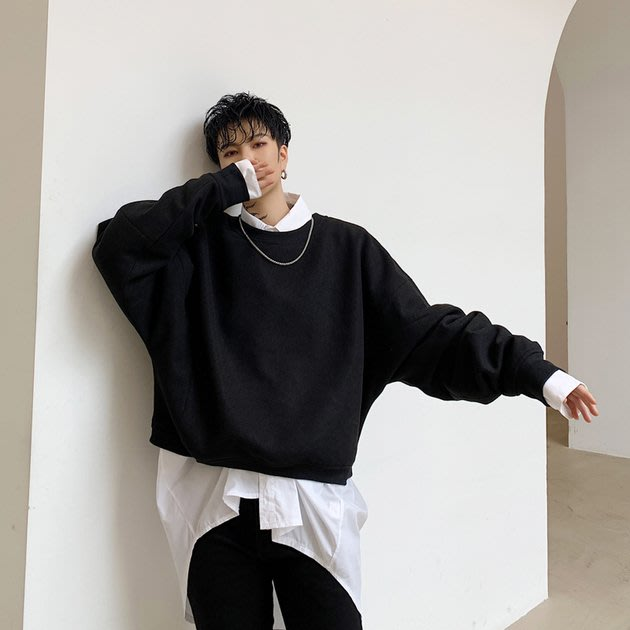 FINDSENSE 2019 秋冬上新 G19  圓領做舊素面嘻哈衛衣男裝百搭寬鬆休閒毛衣蝙蝠衫