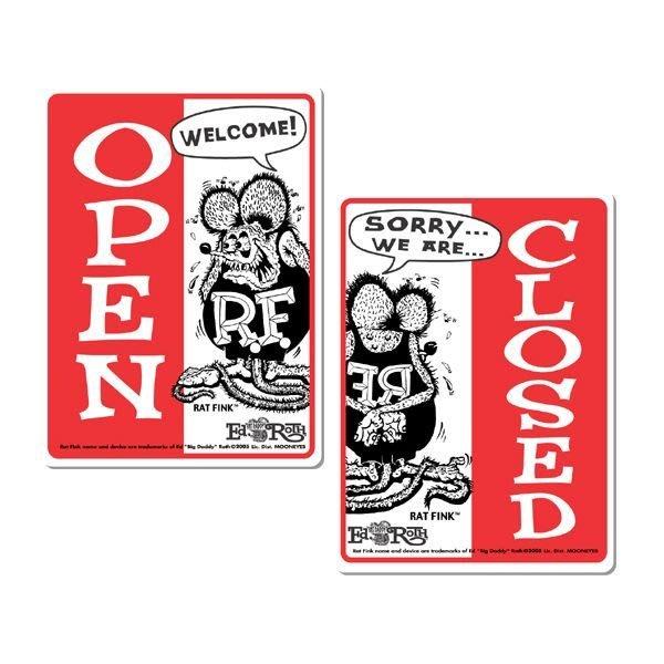 (I LOVE樂多)RAT FINK RF 正反兩面示開店中.休息中.門口.玄關.營業場所.公共場所.裝置藝術