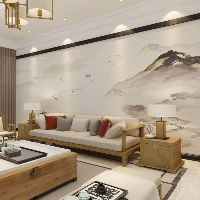半島鐵盒 壁畫 5D中式電視背景墻壁紙客廳影視墻山水無縫墻布墻紙
