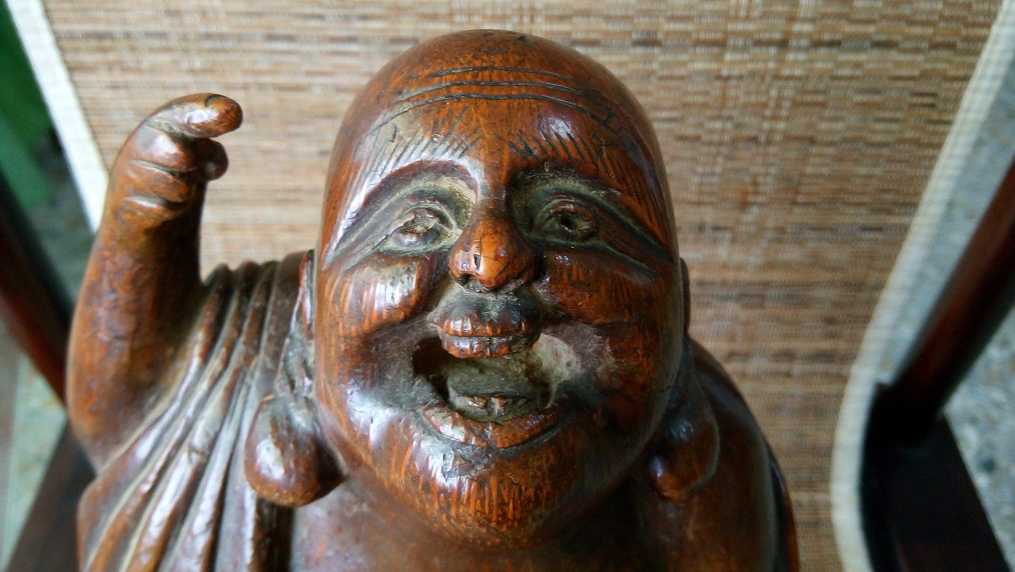 [達古堂]清 竹根雕歡喜羅漢