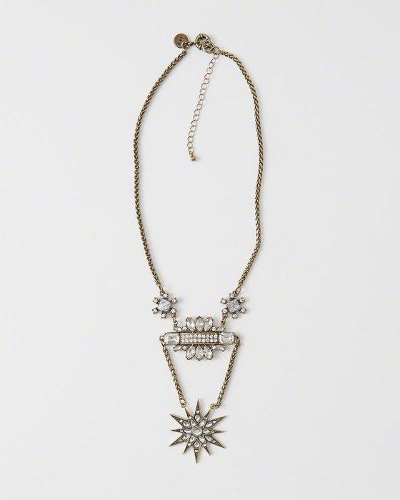 美國百分百【全新真品】Abercrombie & Fitch 項鍊 頸環 飾品 金屬 AF 麋鹿 水鑽 H884