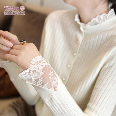 溫柔蕾絲花邊拼針織衫 2色系 萌蔓物語【KX4160】韓氣質女上衣