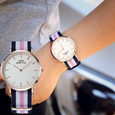現貨 GIMTO正品 簡約復古經典英倫學院風時尚超薄情侣手錶 拼接色帆布帶 男女適戴 熱銷歐美訂製款【S & C】