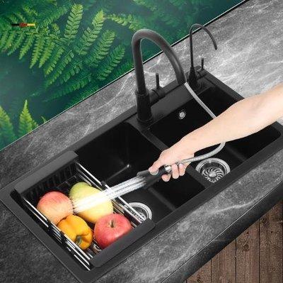 水槽洗菜盆意大利石英石水槽 雙槽 廚房洗菜盆水槽套餐洗碗池水池花崗巖黑色   全館免運