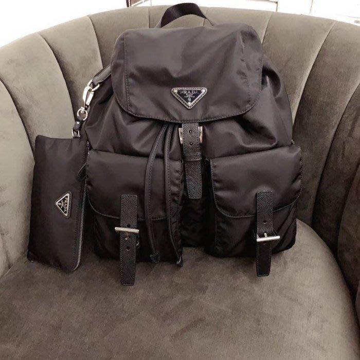 Prada 1BZ811 Vela Backpack 中型超纖後背包 (附零錢包)黑