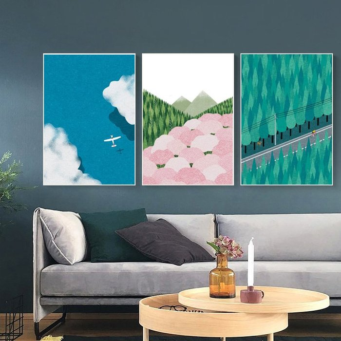 現代簡約水彩小眾新基調裝飾畫畫心飛機森林掛畫牆畫微噴打印畫芯(3款可選)