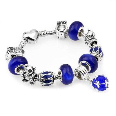 可開發票 串珠手鏈 藍色水晶串珠手飾飾品s52