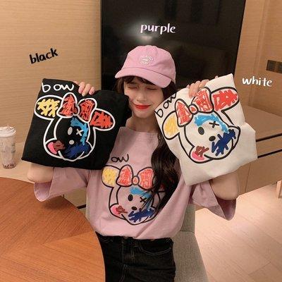 小香風 短袖T恤 時尚穿搭 韓版 可愛減齡涂鴉印花寬松中長款短袖T恤上衣女學生