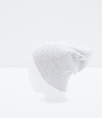 ZARA Women Ribbed Beanie Hat 灰白色素面針織毛帽 h&m forever21
