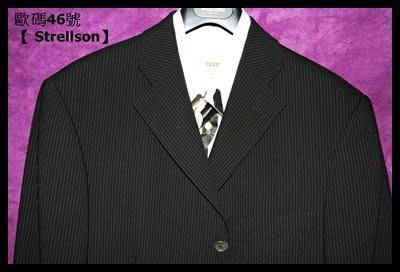 歐碼46號【 Strellson】深黑灰細條紋單排三扣成套西裝(後開衩)