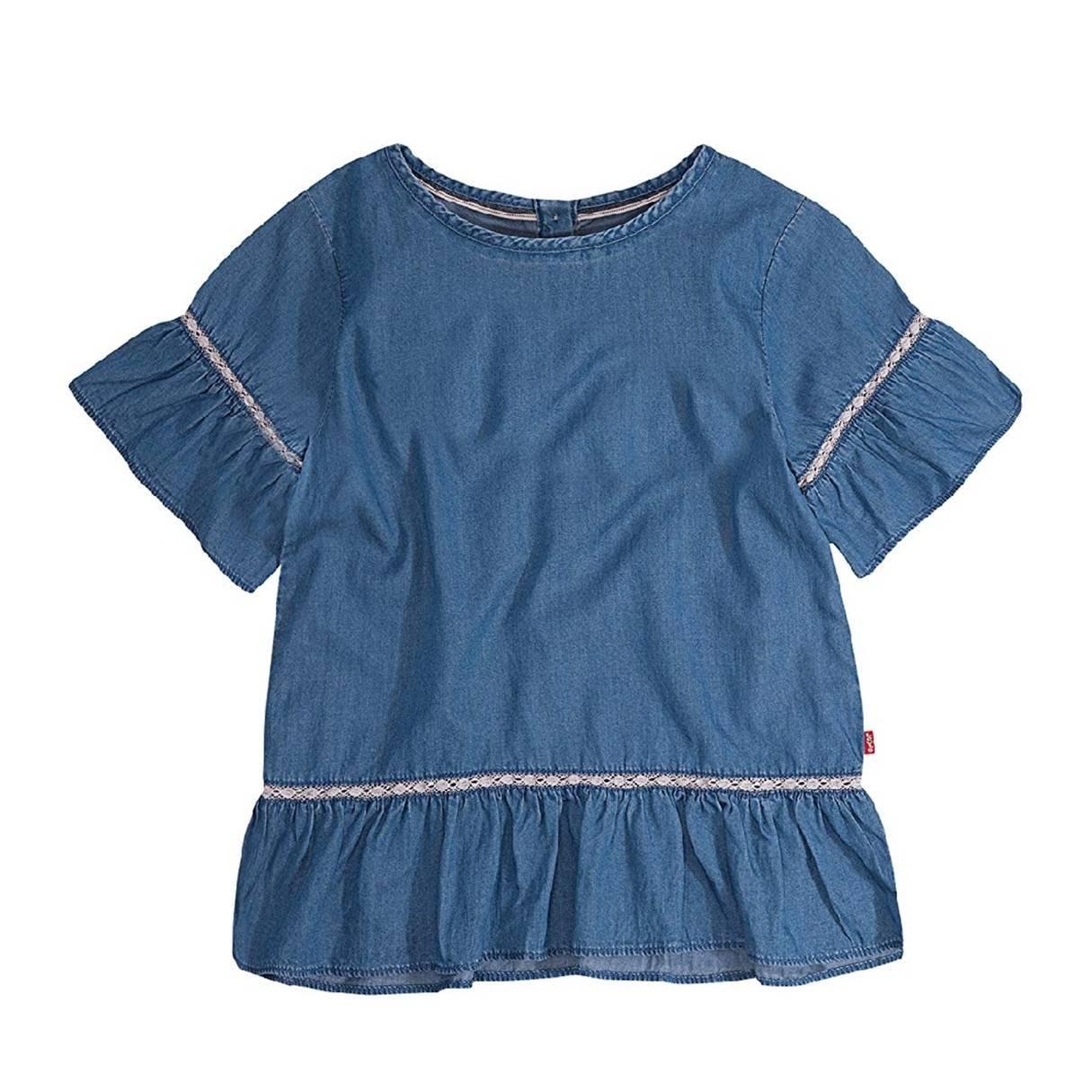 「美樂媽咪」美國正貨-女童Levis Girls Short Sleeve Ruffle Top/童Levis