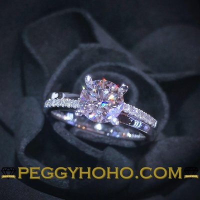 【Peggyhoho】全新18K白金(單粒1卡)配小鑽共1卡12份鑽石戒指|GIA證書|E色 3EX HK13.5