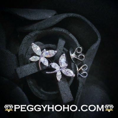 【Peggyhoho】全新18K白金33份超閃鑽石耳環一對|罕有欖尖鑽石 蝴蝶 |marquise diamond