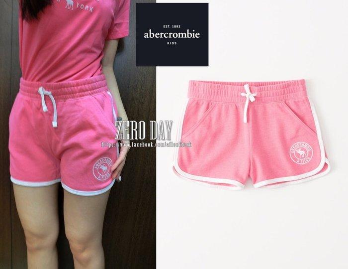 零時差美國a&f真品abercrombie&fitch girl logo pull-on shorts麋鹿短棉褲-粉紅