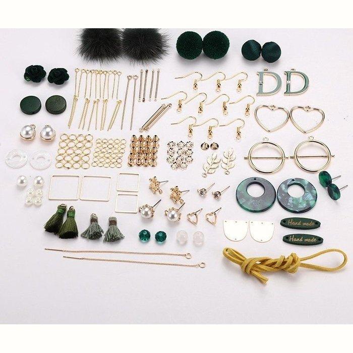 diy耳環材料包 緞帶 流蘇 自製耳釘耳飾品耳墜配件 綠色款  送小工具及包裝袋 09