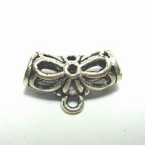 琥珀貓~【925純銀材料配件】彎管帶圈~A0286~鏤空花~一個