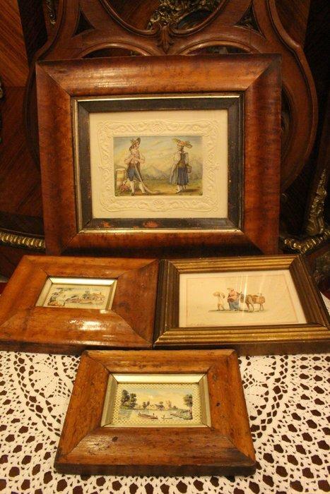 【家與收藏】特價稀有珍藏歐洲古董法國精緻古老微型畫手繪田園風景畫擺飾