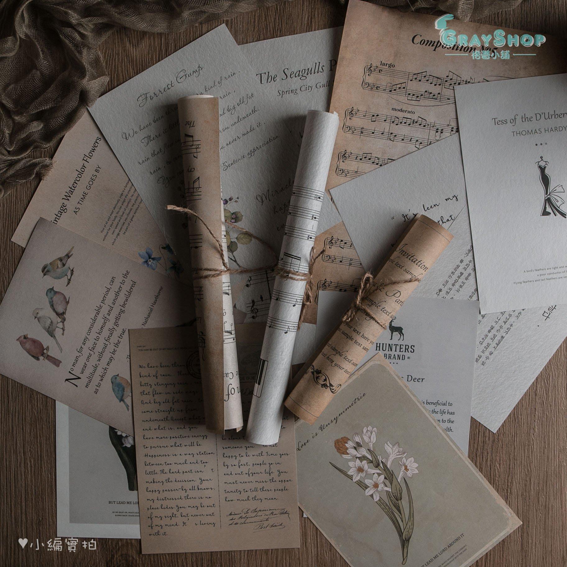 復古雙面背景紙 樂譜紙 英文紙《GrayShop》紙張 花鳥 超百搭 簡約風 網拍攝影道具 拍照道具