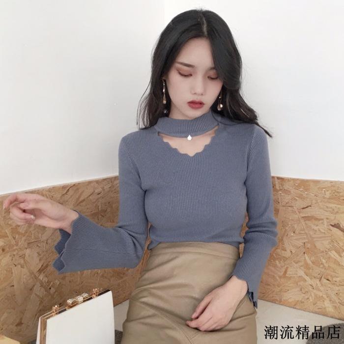 春裝新款韓版半高領鏤空釘珠喇叭長袖針織衫氣質修身顯瘦打底上衣
