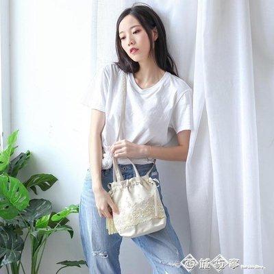中國風仙女小斜挎包漢服手提袋古風包包女2019新款流蘇抽繩單肩包