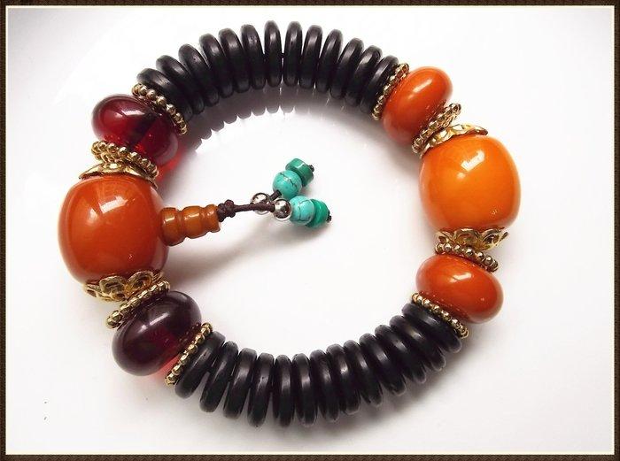 【雅之賞|藏傳|佛教文物】*特賣* 藏密椰殼蜜蠟 14mm 手珠~Q766