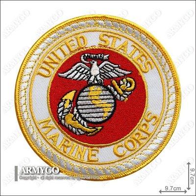 【ARMYGO】美軍海軍陸戰隊 部隊章 (白底黃邊)