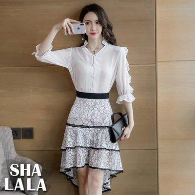 SHA LA LA 莎菈菈 韓版復古法式浪漫拼接蕾絲蛋糕裙收腰荷葉五分袖連衣裙洋裝(S~XL)2019031509預購款