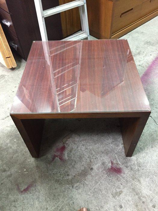非凡二手家具 胡桃色 方形小茶几(含玻璃)*茶几桌*客廳桌*沙發桌*矮桌*泡茶桌*和室桌*餐桌*造型桌*邊桌