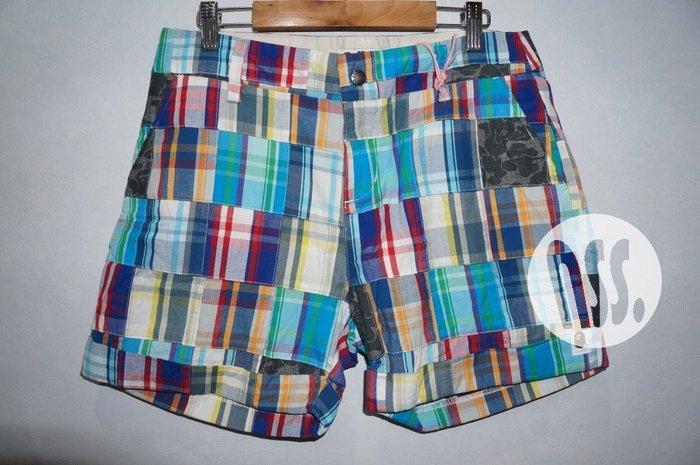 特價「NSS』A BATHING APE BAPE CHECK PATCHWORK SHORTS 拼接 短褲 女 XS