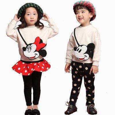 •*~ 辣媽咪衣飾小舖 ~*•❤童裝系列❤•*~U970937韓版加絨加厚超可愛米奇米妮圖案上衣+休閒褲(裙褲)兄妹姐弟