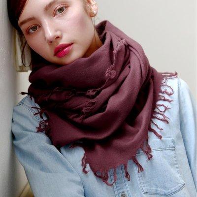 羊毛披肩 長 圍巾-純色毛邊薄款休閒女配件4色73wq8[獨家進口][米蘭精品] 高雄市