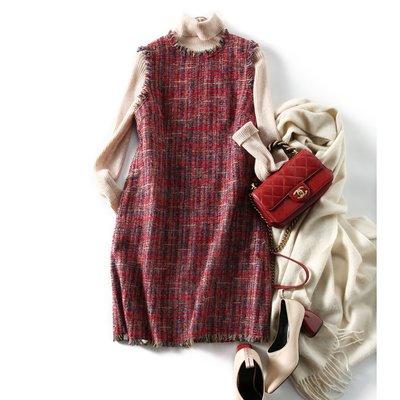 Perfect.韓國專櫃~の[QZ123015AG] 笑涵閣 得體的美! 拉須工藝含羊毛粗花呢背心裙