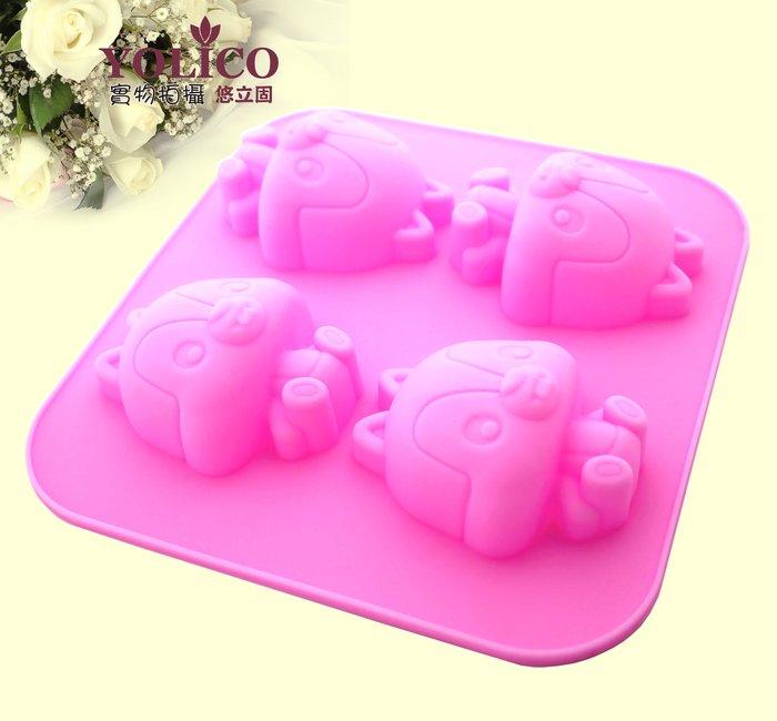 【悠立固】Y087小松鼠矽膠模 4孔可愛松鼠卡通矽膠模具 手工皂模具 巧克力蛋糕模具 布丁果凍模 擴香石 薰香模 食品級
