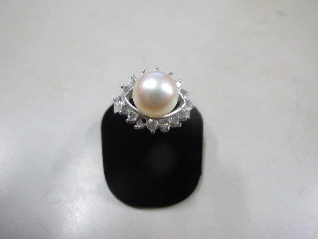 二手舖 NO.3987 天然珍珠 鑲鑽造型戒指 首飾飾品 全新
