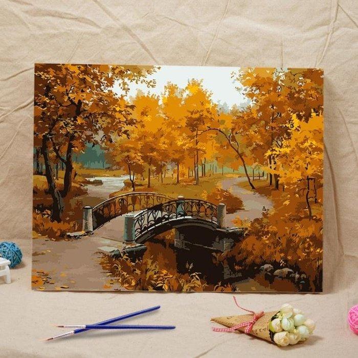 diy手繪數字油畫客廳風景自己填上色手工數碼油彩裝飾畫魅力深秋