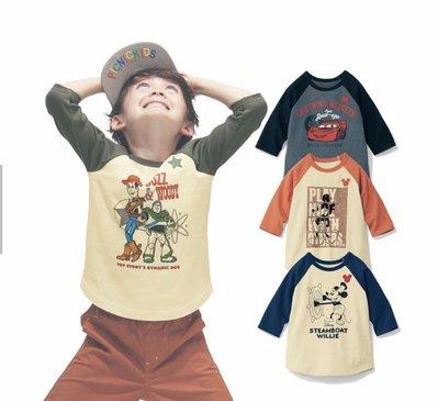 Co媽日本精品代購 預購 日本迪士尼 小朋友 純綿  T恤 圓領T恤 7分袖 90~140