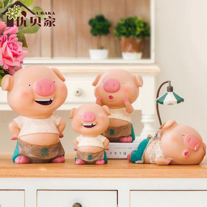 〖洋碼頭〗趴趴豬系列創意錢罐擺件家居工藝品樹脂送閨蜜結婚禮物小豬擺件 ybj155