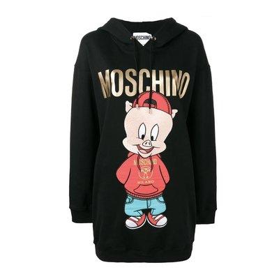 HJ國際精品館19春夏Moschino A04791027豬小弟圖案連身帽裙-(豬年限定款)