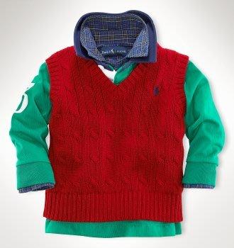 【Polo Ralph Lauren】RL 小男童 針織毛衣 小馬刺繡 針織毛衣背心 針織衫 紅色