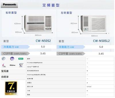 【大高屏冷氣空調家電】國際牌空調 定頻窗型 單冷 左/右吹型 5.0kw 7~9坪《CW-N50S2/SL2》空機價