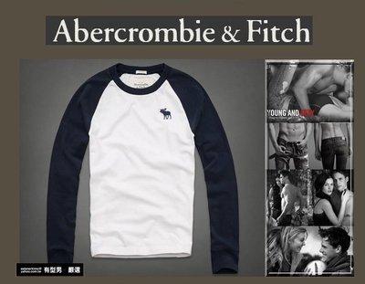 有型男~ A&F Abercrombie&Fitch 旗艦店款棒球長T 大麋鹿款 Calamity Pond white