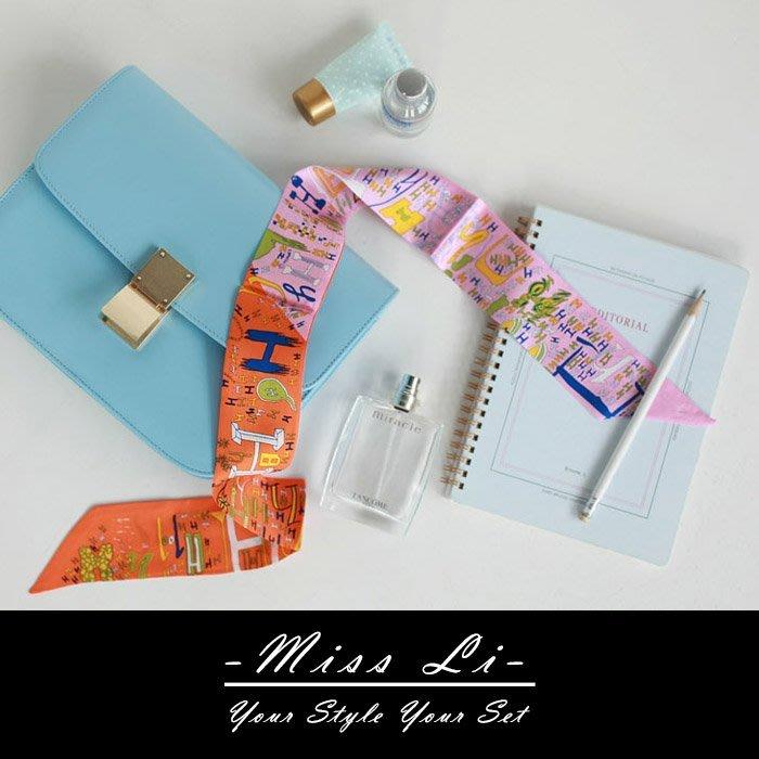 Miss Li【SC08】彩繪H包包絲巾/Twilly手把綁巾/手環/髮帶/生日禮物首選