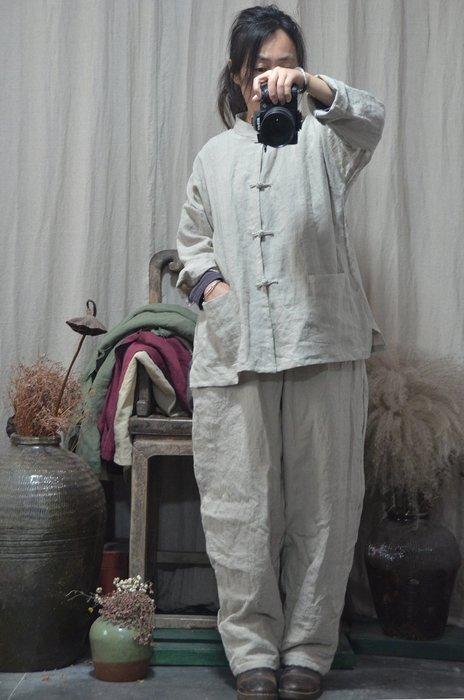 (老銀屋)春裝中式手工盤釦開衫外套/麻質開衫上衣