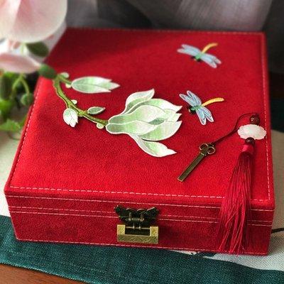 珠寶盒古風珠寶盒大號首飾盒刺繡帶鎖飾品盒耳釘項鏈收納盒結婚禮物首飾盒