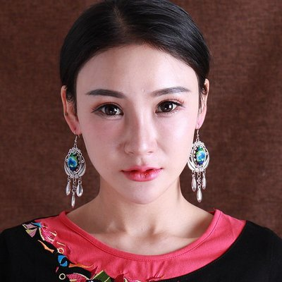 復古耳環 刺繡苗銀耳墜休閑時尚耳飾民族風 苗族舞蹈飾品